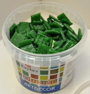 Mozaieksteentjes 1x1cm Donker groen<br />Emmer ca350st