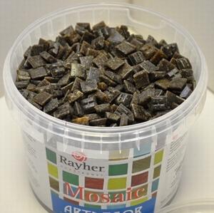 Mozaiek steentjes 1x1cm Donker Bruin<br />Ca 1450 stuks