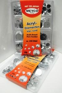 Diamant stenen kunststof zilver<br />per set