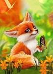 Kleine vos en vlinder