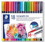 Viltstiften dubbel punt 18 kleuren